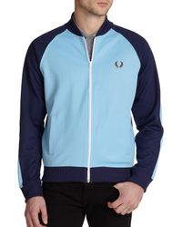 Fred Perry - Blue Cotton-blend Colorblock Track Jacket - Lyst
