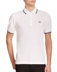 Fred Perry | White Twin Tipped Cotton Polo for Men | Lyst