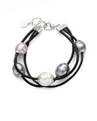 Majorica - Black 12mm Multicolor Baroque Pearl, Sterling Silver & Leather Cord Multi-row Bracelet - Lyst