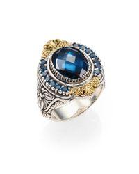 Konstantino - London Blue Topaz 18k Yellow Gold Sterling Silver Ring - Lyst