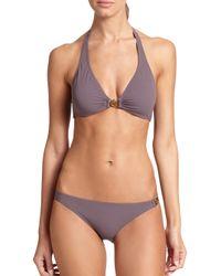 Tory Burch | Gray Logo Halter Bikini Top | Lyst