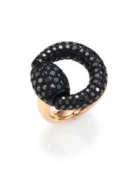 Gucci | Black Diamond & 18k Pink Gold Horsebit Ring | Lyst