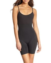 Spanx | Black Trust Your Thinstincts Mid-thigh Bodysuit | Lyst