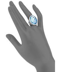 Roberto Coin - Metallic Cocktail Blue Topaz, Diamond & 18k White Gold Ring - Lyst