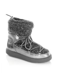 Moncler - Metallic Ynnaf Lace Front Leather Sneaker Booties - Lyst
