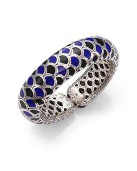 John Hardy | Blue Naga Black Sapphire, Enamel & Sterling Silver Slim Flex Cuff Bracelet | Lyst