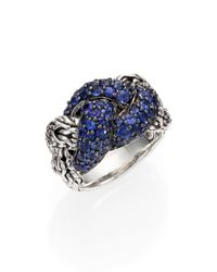 John Hardy | Blue Classic Chain Sapphire & Sterling Silver Braided Ring | Lyst
