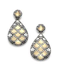 John Hardy | Metallic Naga 18k Yellow Gold & Sterling Silver Teardrop Earrings | Lyst