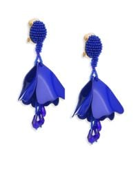 Oscar de la Renta - Blue Mini Impatiens Flower Metallic Clip-on Earrings - Lyst