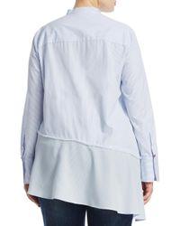Marina Rinaldi - White Plus Asymmetrical Cotton Button-down Shirt - Lyst