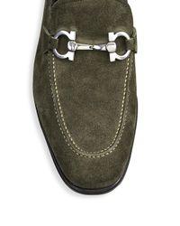 Ferragamo - Green Pf17 Flori 2 Suede Slip-on Loafers for Men - Lyst