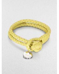 Bottega Veneta | Yellow Intrecciato Leather Double-row Wrap Bracelet | Lyst