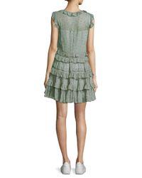 Rebecca Taylor - Green Vine Ruffle Dress - Lyst