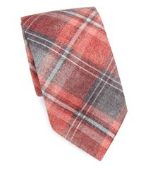 Isaia - Red Large Plaid-print Wool & Silk Tie for Men - Lyst