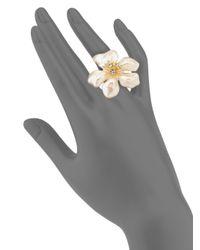 Kenneth Jay Lane - Metallic Faux Pearl & Crystal Flower Ring - Lyst