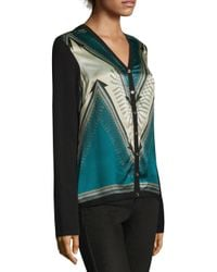 Versace - Blue Printed V-neck Cardigan - Lyst