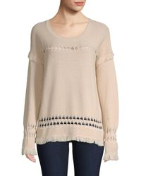 Feel The Piece - Natural Colin Diamond Weave Fringed Sweater - Lyst