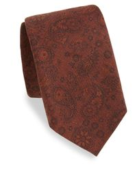 Isaia - Brown Rust Paisley Silk Tie for Men - Lyst