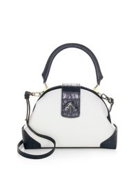 MANU Atelier - White Demi Leather & Suede Satchel - Lyst