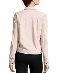 ATM - Pink Leather Trucker Jacket - Lyst