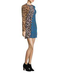 Diane von Furstenberg - Blue Bias Animal Print Multi Fitted Dress - Lyst