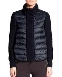 Moncler - Blue Mixed-media Cardigan - Lyst