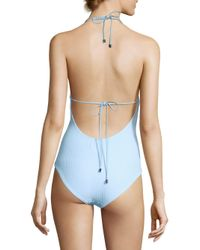 Shoshanna - Blue Gingham Ruffle One-piece Swimsuit - Lyst