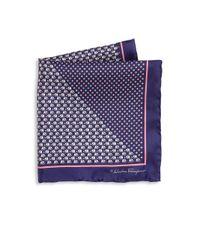 Ferragamo | Blue Elephant & Medallion Printed Silk Pocket Square | Lyst