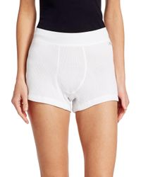 Miu Miu White Cotton Rib Shorts