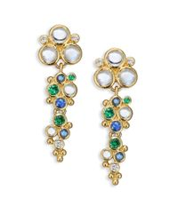 Temple St. Clair - Multicolor Mare Diamond, Royal Blue Moonstone, Blue Sapphire, Tsavorite & 18k Yellow Gold Drop Earrings - Lyst