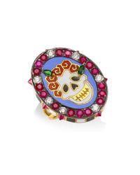 Holly Dyment - Metallic Diamonds & 18k Yellow Gold Gemstone Skull Ring - Lyst