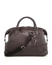 Giorgio Armani - Brown Leather Holdall for Men - Lyst