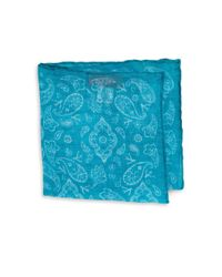 Isaia   Blue Fazzoletti Printed Linen Pocket Square for Men   Lyst