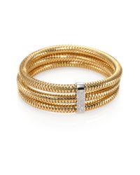 Roberto Coin - Metallic Primavera Diamond & 18k Yellow Gold Multi-row Woven Bracelet - Lyst
