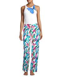 Onia Blue Mila Tropical-print Pants