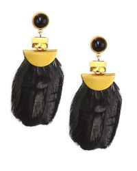 Lizzie Fortunato - Multicolor Feathered Eagle Drop Earrings - Black Yellow Gold - Lyst