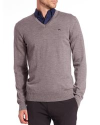 J.Lindeberg - Gray Lymann V-neck Sweater for Men - Lyst