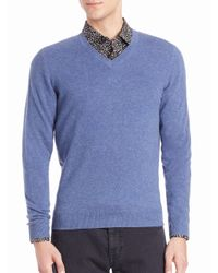 Saks Fifth Avenue - Blue Cashmere V-neck Sweater for Men - Lyst