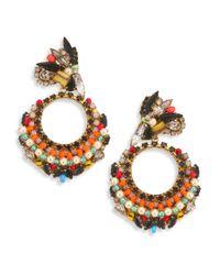 Erickson Beamon   Metallic Safari Faux Pearl & Crystal Cluster Earrings   Lyst