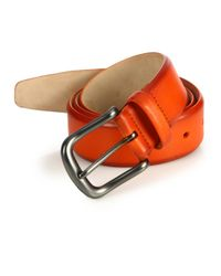 Saks Fifth Avenue - Orange Hives Burnished Leather Belt for Men - Lyst