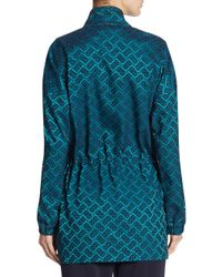 St. John - Blue Funnel Neck Tile Jacket - Lyst