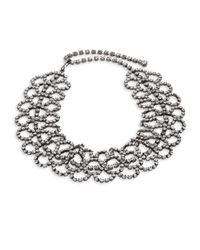 Kenneth Jay Lane - Metallic Crystal Lace Choker Necklace - Lyst