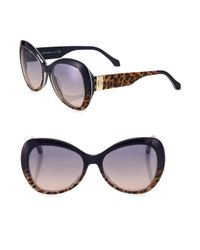 Roberto Cavalli - Multicolor 56mm Leopard-print Butterfly Sunglasses - Lyst