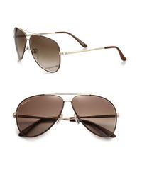 Ferragamo - Brown Men's Classic Aviator 60mm Sunglasses - Blue for Men - Lyst