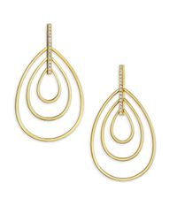Carelle - Metallic Moderne Diamond & 18k Yellow Gold Trio Teardrop Earrings - Yellow Gold - Lyst