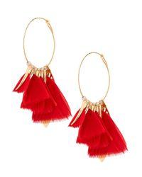 Gas Bijoux - Red Feather Hoop Earrings - Lyst