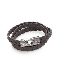 Stephen Webster - Gray Braided Leather Bracelet for Men - Lyst