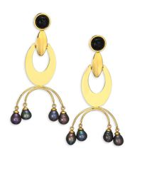 Lizzie Fortunato - Metallic Gazelle 9mm Peacock Freshwater Pearl Drop Earrings - Lyst