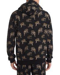 Dolce & Gabbana Black Mini Leopard Cotton Hoodie for men
