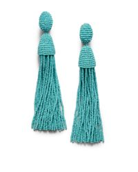 Oscar de la Renta - Blue Long Beaded Tassel Clip-on Earrings - Lyst